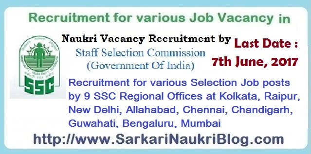 Recruitment for Selection Posts by 9 SSC Regional Offices