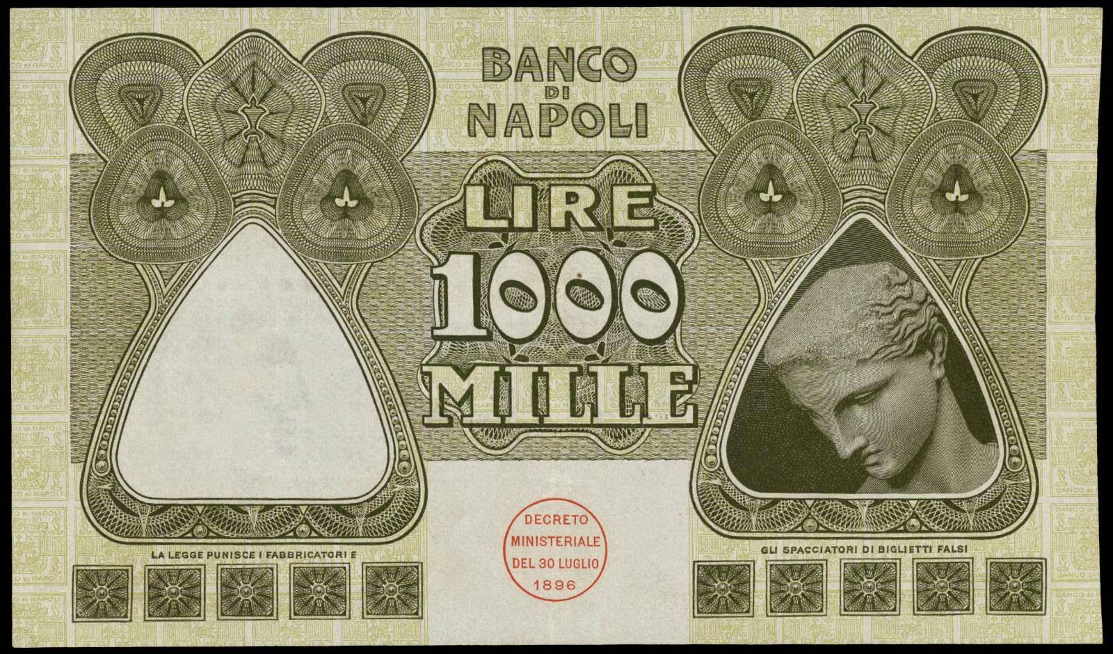 Italy paper money 1000 Lire banknote 1909 Banco di Napoli
