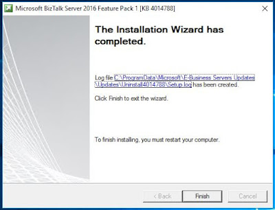 BizTalk feature Pack1 instalation complete