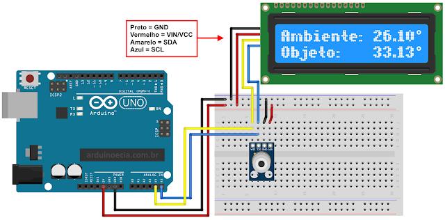 Circuito MLX90614 com Arduino Uno