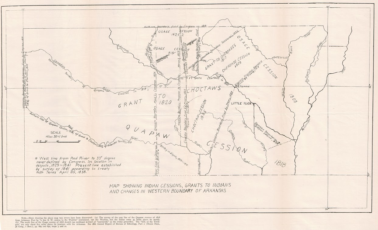 map showing indian cessions grants to indians and changes in western boundary of arkansas in 18th annual report of the bureau of ethnology part 2