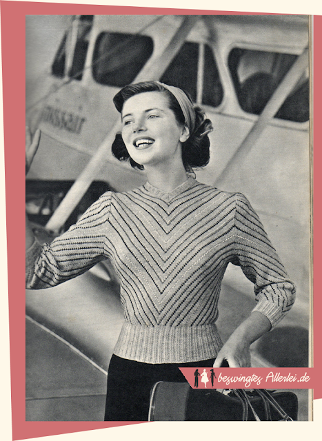 The Vintage Pattern Files: Free 1950s Knitting Pattern - Damenpullover mit Streifenmuster