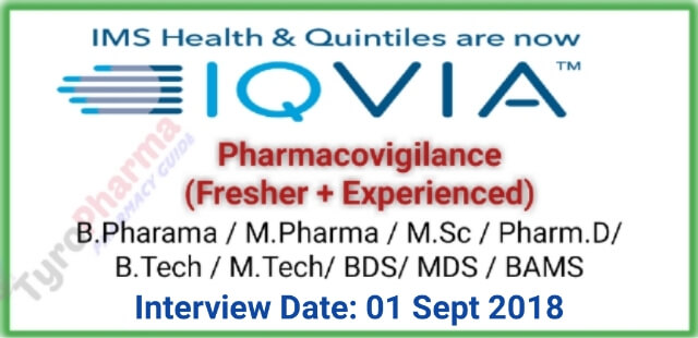 IQVIA is hiring for Pharmacovigilance (Fresher + Experienced)