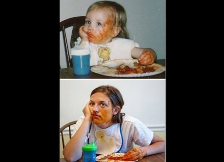 20 Hilarious Before And After Pictures Made By Adults Who Reminisced Their Childhood Years - Eating spaghetti can always get messy