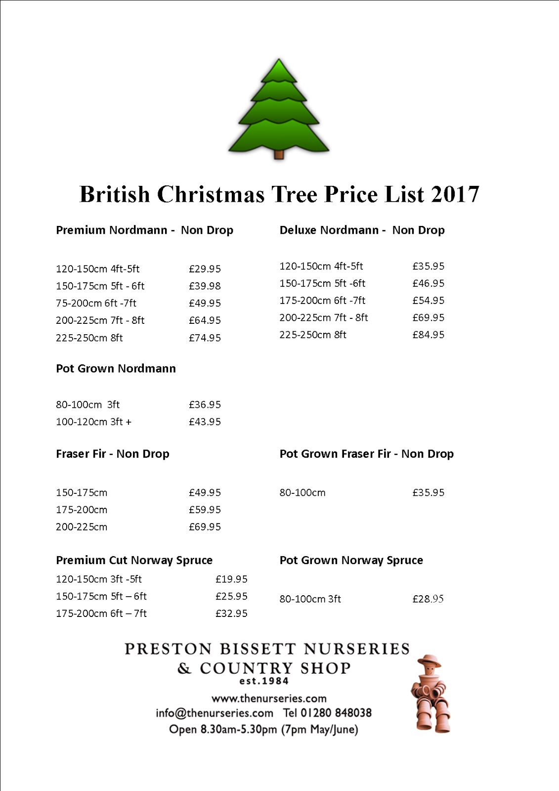 Preston Bissett Nurseries and Country Shop: Christmas Tree Prices