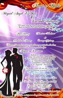 Tarjeta de Invitación para bodas morado lila y bronce