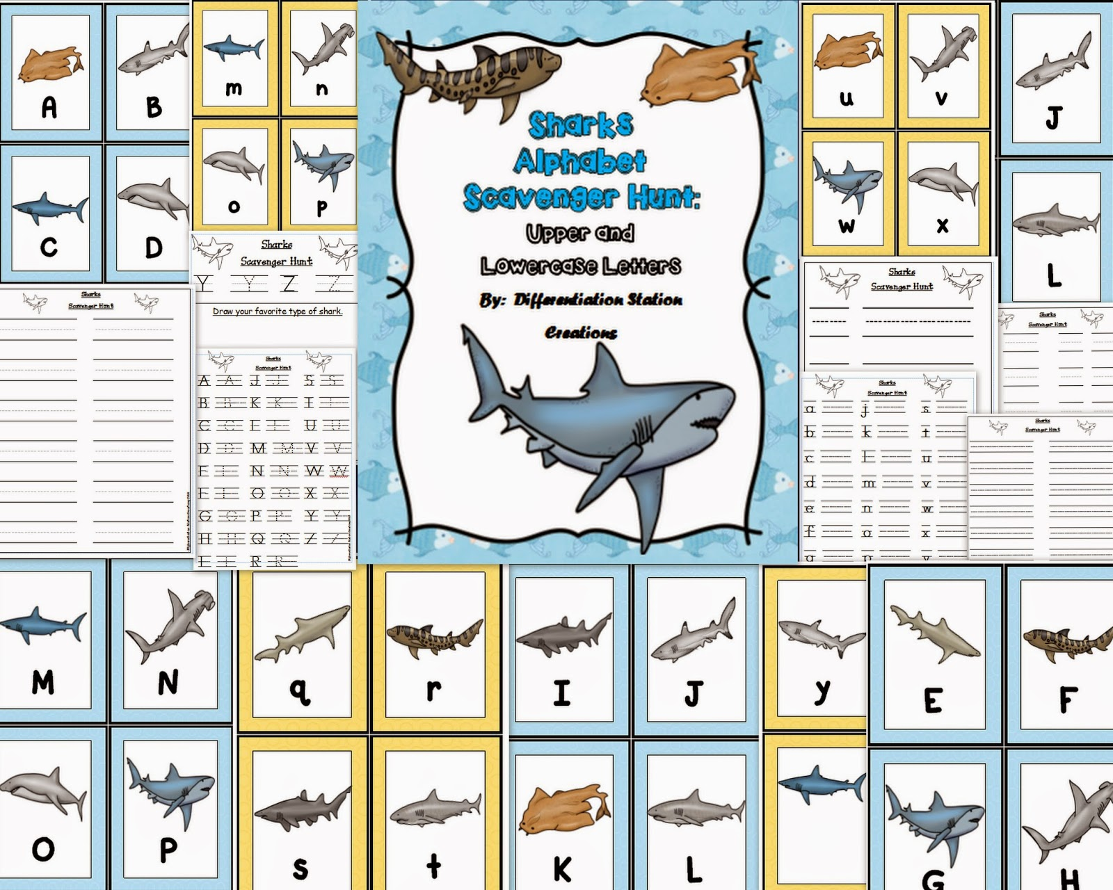 http://www.teacherspayteachers.com/Product/Sharks-Alphabet-Scavenger-Hunt-Upper-and-Lowercase-Letters-Center-Printables-1089061
