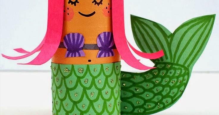 Flowerpower Vase Toilet Roll Crafts Hula Girl And Mermaid