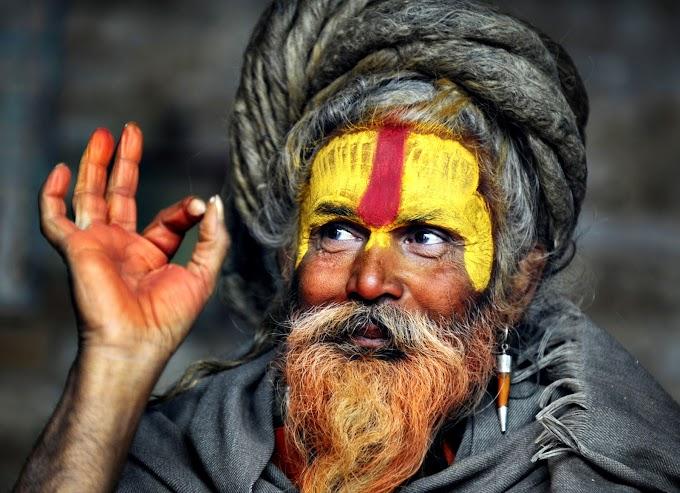 The Tilak - Tilaka sacred symbol on forehead or between eyebrows