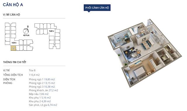căn hộ A tòa B - 104m2