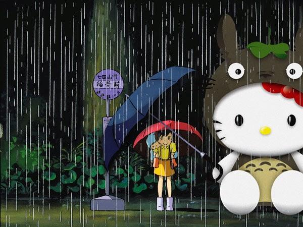 Gambar Hello Kitty Animasi Hujan Lucu Imut