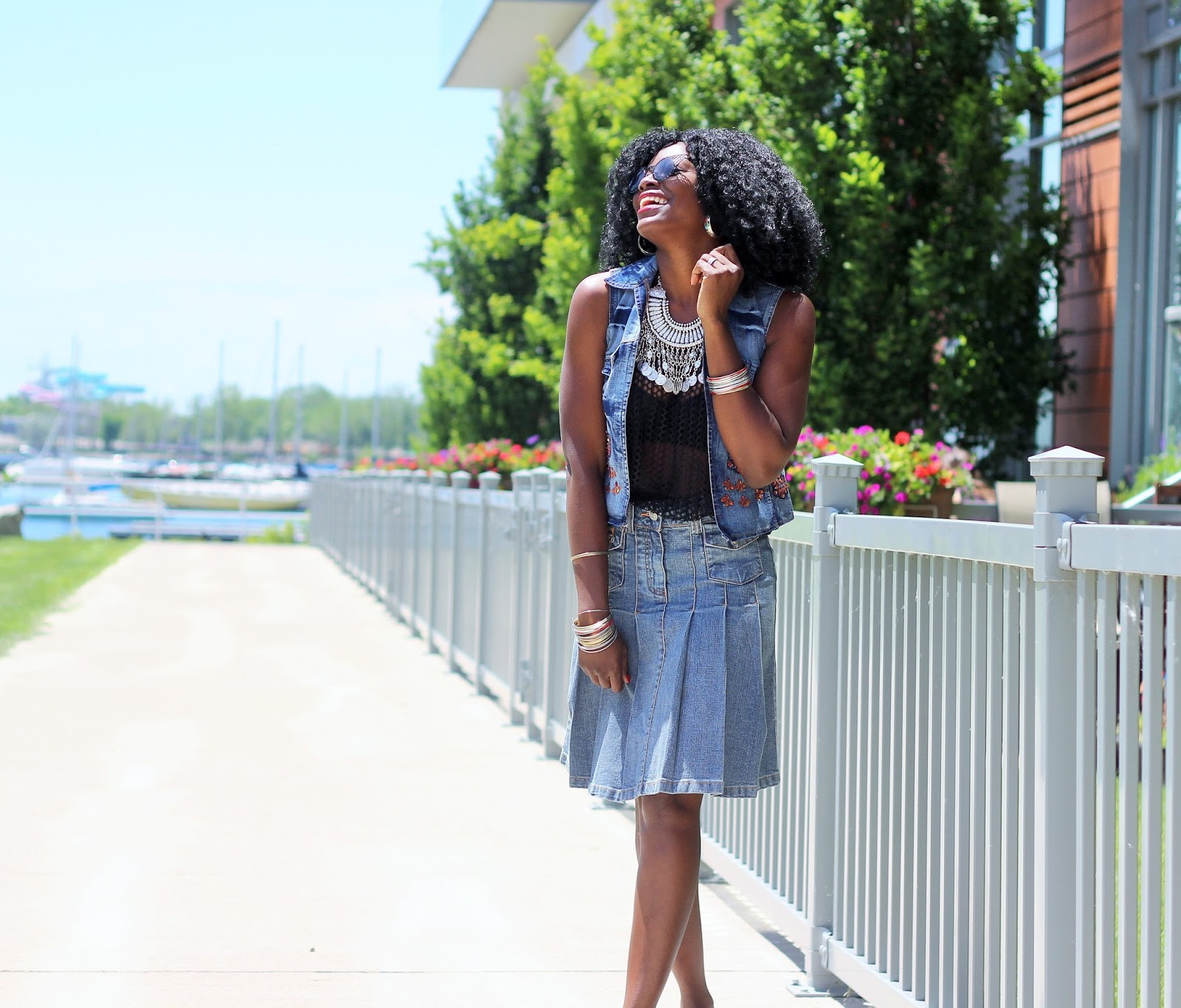 Statement Necklace x Denim Vest x Denim Skirt