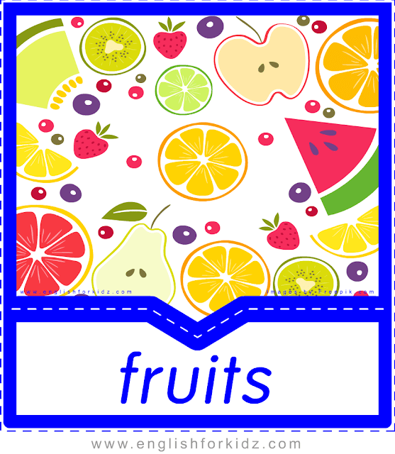 Fruits - English food flashcards for ESL students