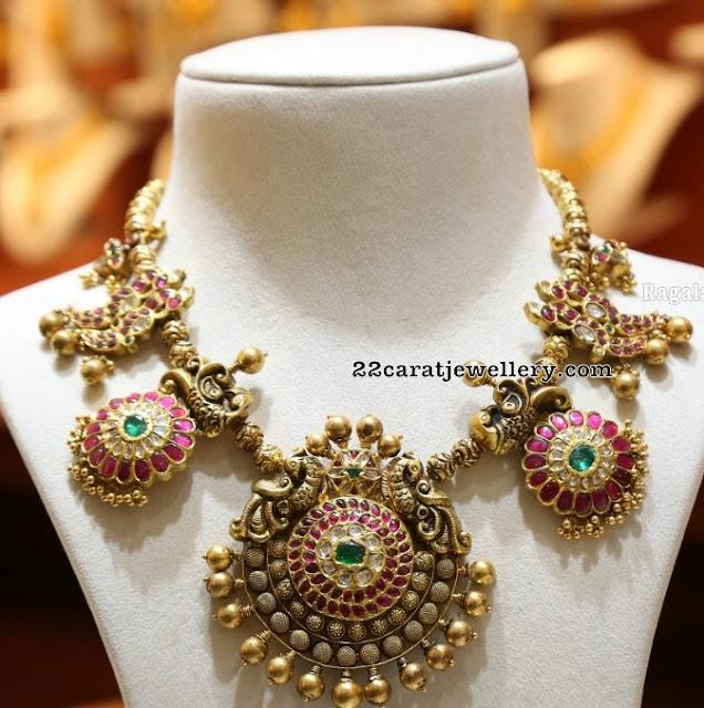 Peacock Kundan Necklace Malabar Gold