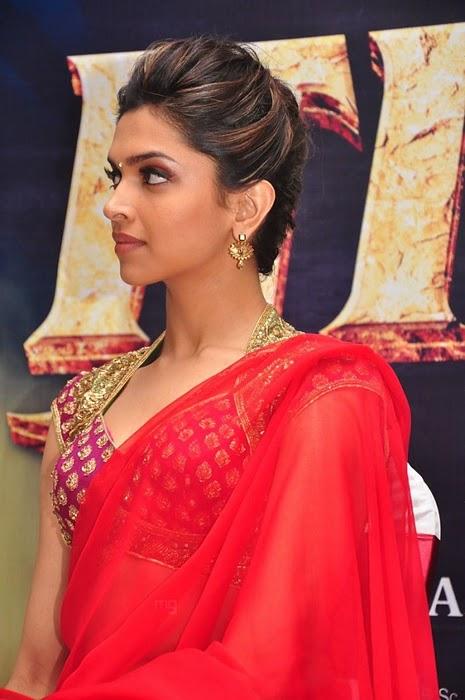Geger Kaku68: Deepika Padukone In Red Saree Cute Stills ...