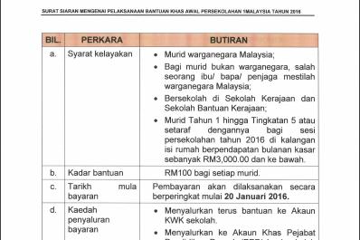 Agihan Bantuan Persekolahan RM100 2016!