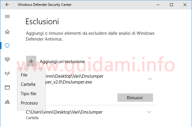 Windows Defender Security Center schermata Esclusioni