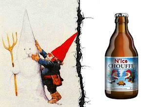 Dibujo de Rien Poortvliet y una N'Ice Chouffe.