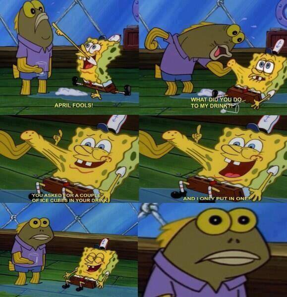 Spongebob making a hilarious april fools prank