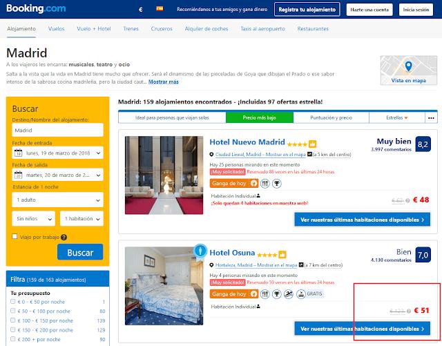 Tarifa hotel Osuna en booking