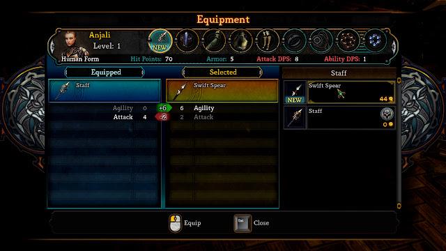 Dungeon Siege III equipment menu screenshot