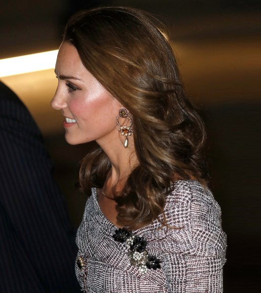 Kate Middleton wore ERDEM Iman off-the-shoulder embellished bouclé-tweed midi dress and Jimmy Choo Anouk Bordeaux velvet pumps