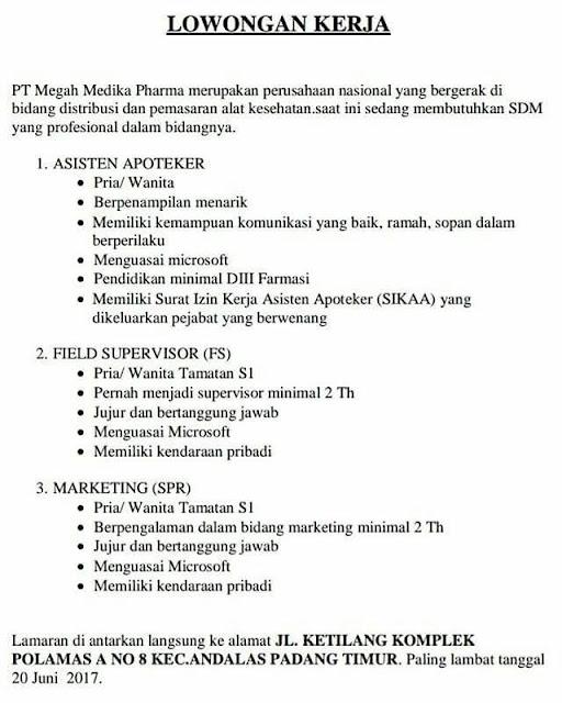 Lowongan Kerja Padang: PT. Megah Medika Pharma Juni 2017