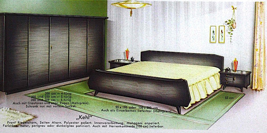 a bedroom from a 1960 German catalog, color illustration