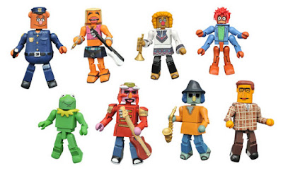 "The Muppets Minimates Series 3 by Diamond Select Toys – ""Constantine"" Kermit, Patrol Bear Fozzie, Floyd Pepper, Janice, Zoot, Lips, Muppet Newsman & Pepe the King Prawn"