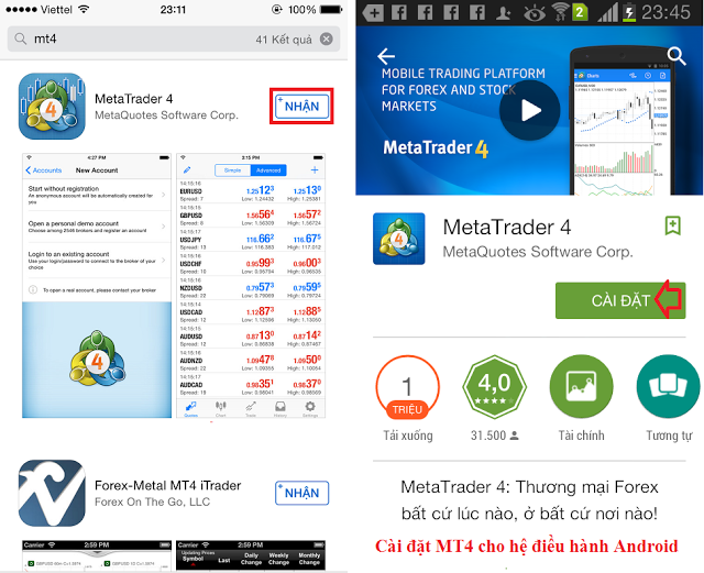 Phần mềm MT4 HotForex cho Android và Blackberry