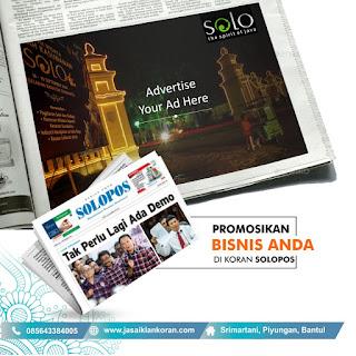 Pasang Iklan di surat kabar Solo