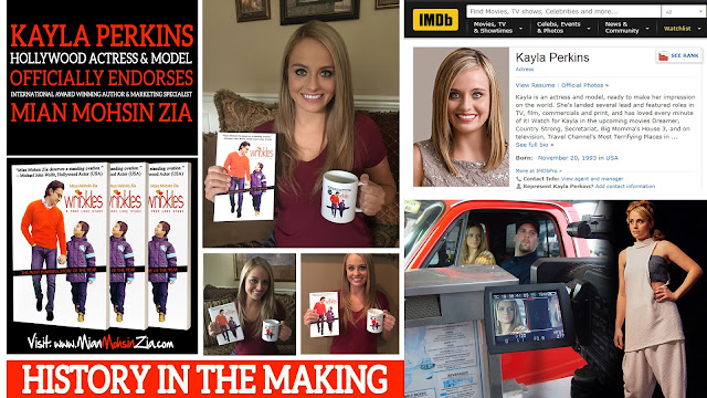 Kayla Perkins, Hollywood Actress with her copy of Wrinkles by Mian Mohsin Zia