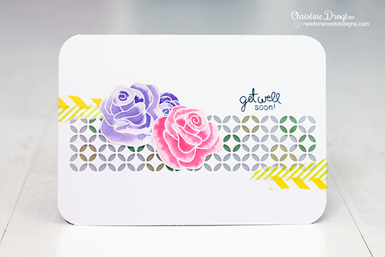 Rose card by Christine Drogt for Inky Paws Challenge #9 | Newton's Nook Designs