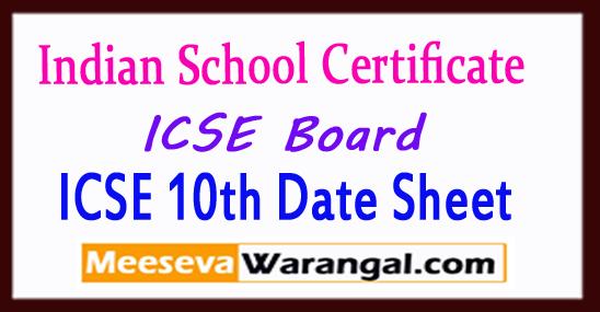 ICSE 10th Date Sheet 2019 ICSE Time Table