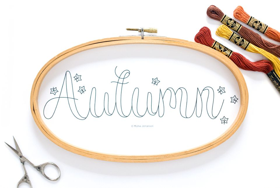 Free Autumn Embroidery pattern by Mollie Johanson for The Spruce, featured on Feeling Stitchy