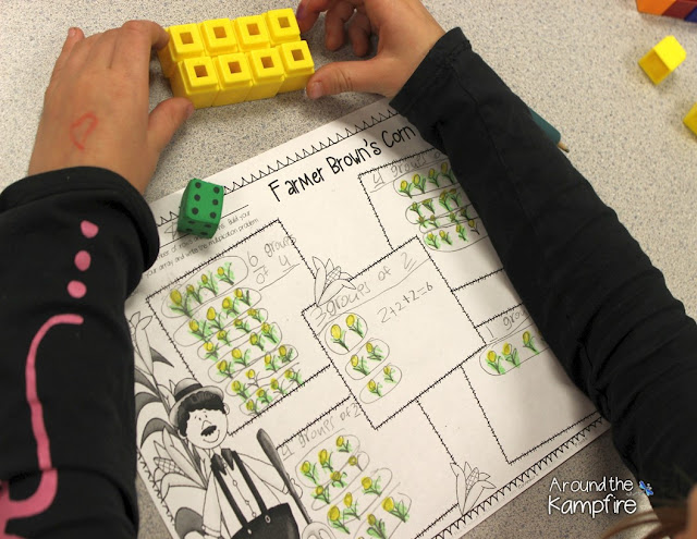 Free printable arrays lesson with Farmer Brown's cornfield visual and student page. | Around the Kampfire
