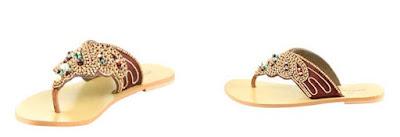 Sandalias planas de piel color camel de Manoukian