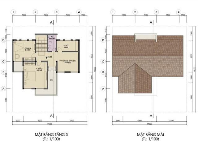 Mặt bằng tầng 3, tầng mái biệt thự đơn lập Foresa Villa