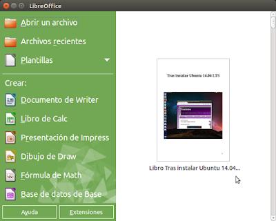 LibreOffice inicio