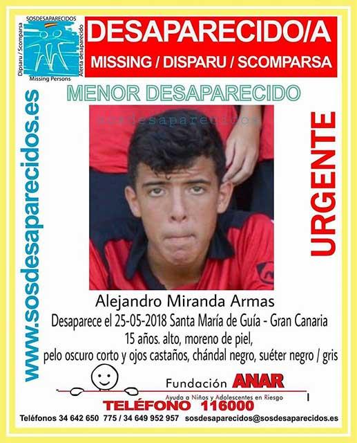 Alejandro Miranda Armas, menor, 15 años) desaparecido Santa María de Guía, Gran Canaria