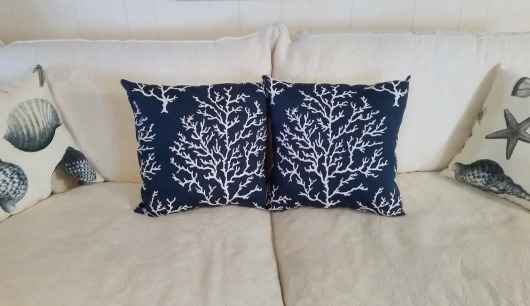 Navy Blue Coral Branch Pillows