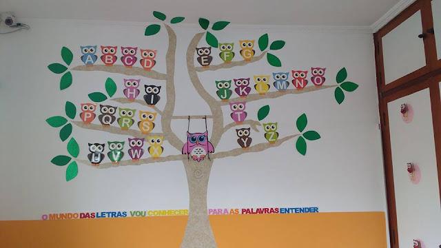 Decoração Corujinhas Alfabeto na árvore