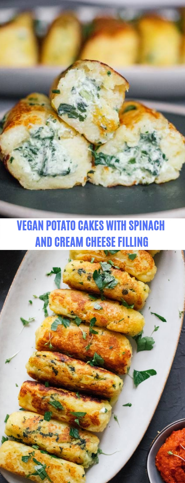 VEGAN POTATO CAKES WITH SPINACH AND CREAM CHEESE FILLING