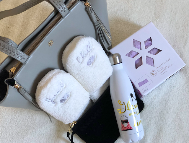 Hallmark Just Chill Slippers - Crafters & Co Lavender Comfort Wrap - Glamour Water Bottle - Mark & Hall Gray Expanding Tote with Pouch Wristlet #LoveHallmarkCA