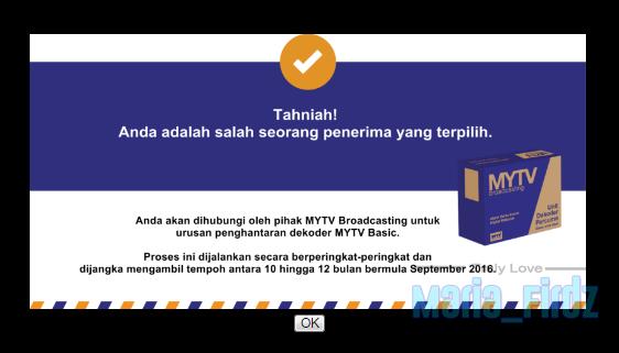 Tahniah! Anda Terpilih Sebagai Penerima Dekoder MyTV 2016!