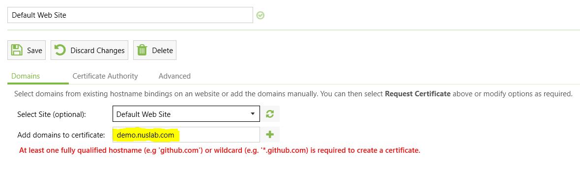 Isi nama domain sertifikat
