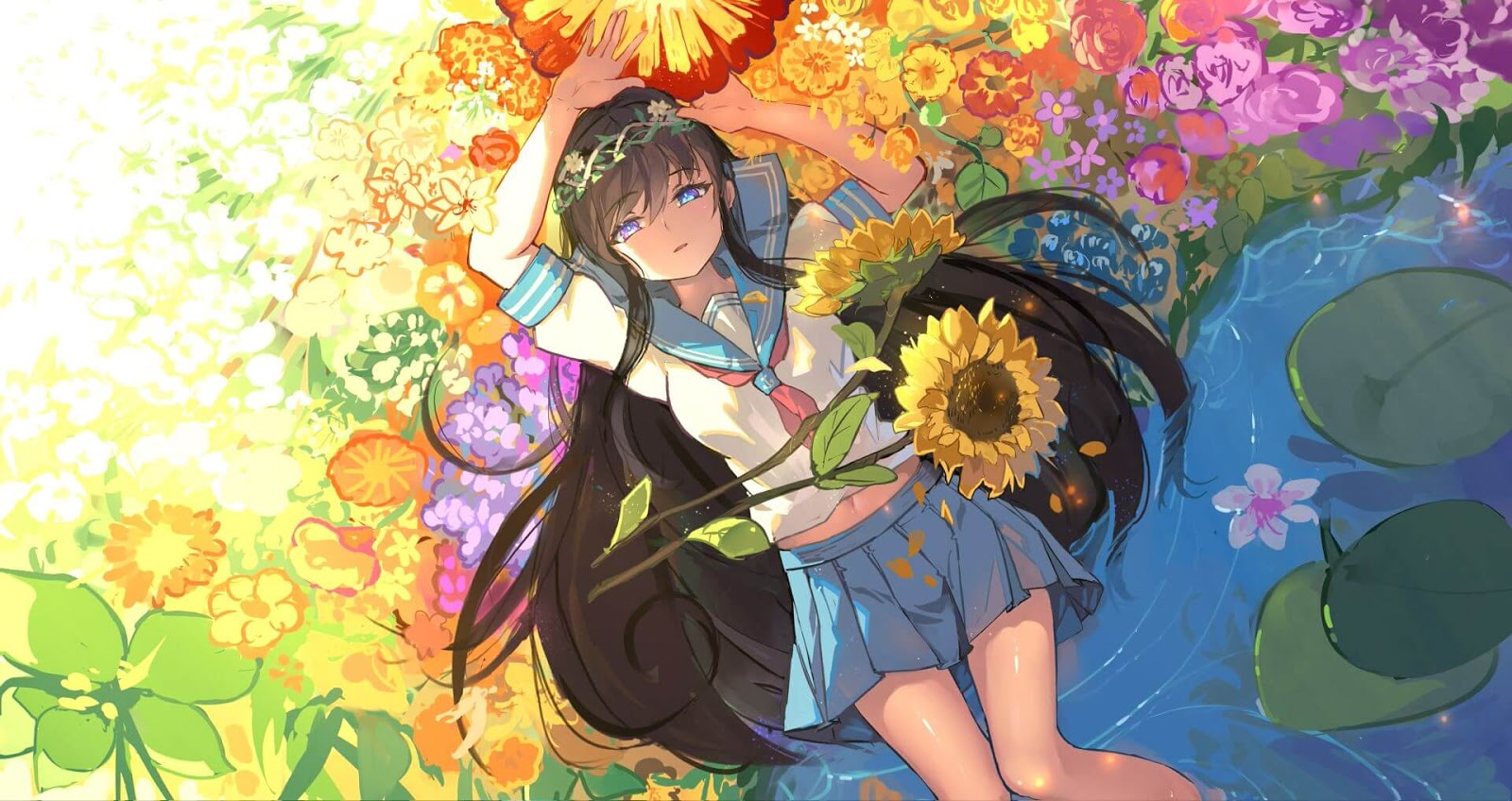 Flower Girl 花弁と女の子【4K】 [Wallpaper Engine Anime]