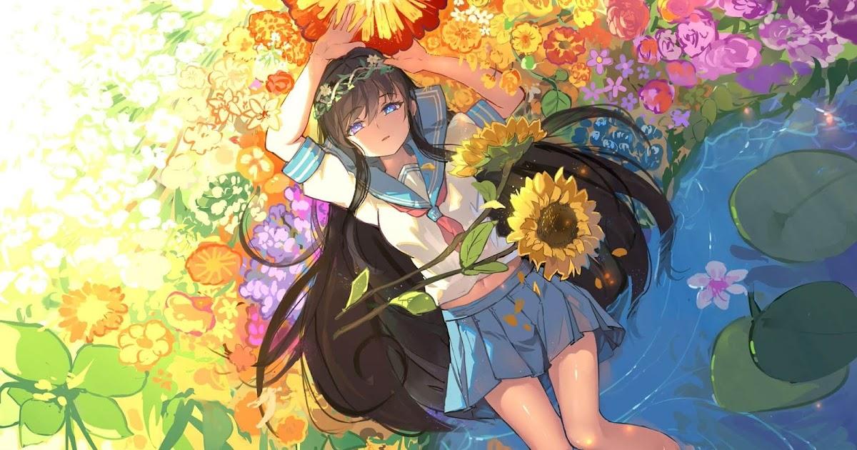 Anime 4k Wallpaper: Flower Girl 花弁と女の子【4K】 [Wallpaper Engine Anime]