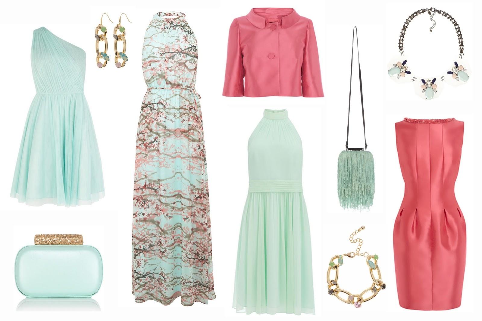 f3399193b5e From top to bottom  Poppy aqua mint one-shouldered dress £85. Naomi mint  clutch £28. Thalia earrings £5. Cherry Blossom maxi dress £115.