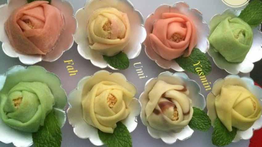 Resep Dadar Gulung Bentuk Bunga